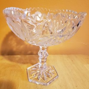 Antique German Wheel Cut Rose Pattern Crystal Bowl